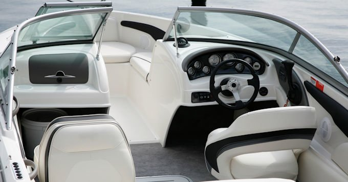 Interior of a speedboat
