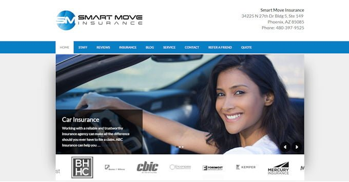 Image of the new Smart Move Insurance website