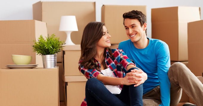 Young couple in their rented apartment